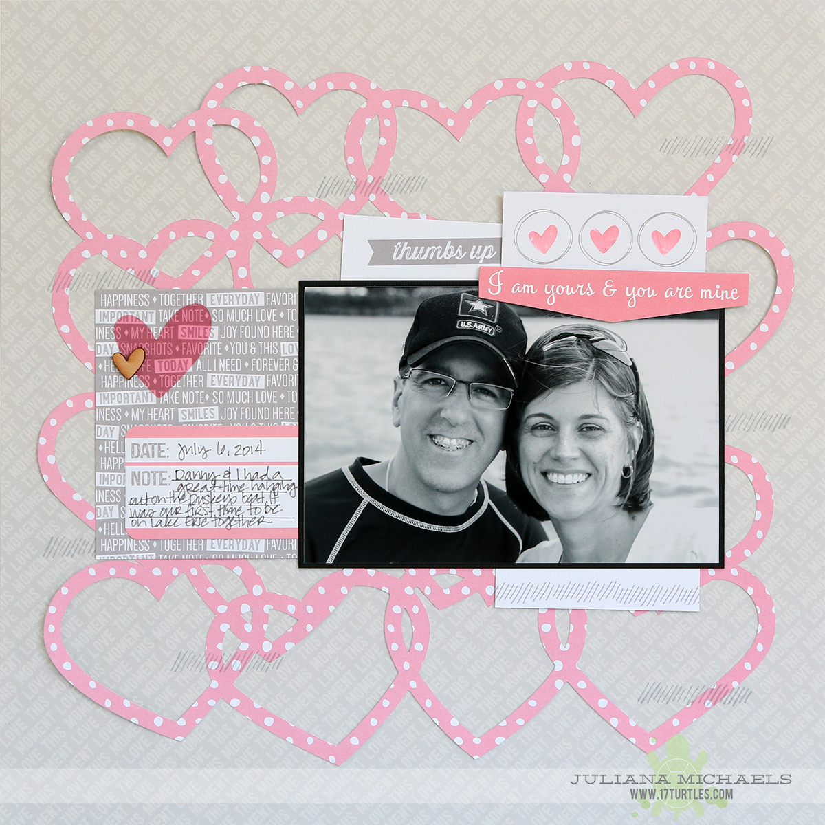 I Am Yours Scrapbook Page by Juliana Michaels for Elle's Studio using Entwined Hearts Free Digital Cut File 17turtles