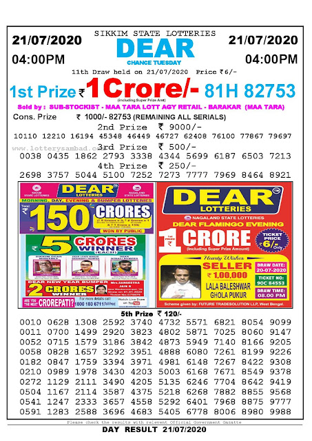 Sikkim State Lotteries 21-07-2020 Lottery Sambad Result 04:00 PM