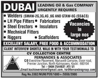 Recruitment to oil and gas company in Dubai