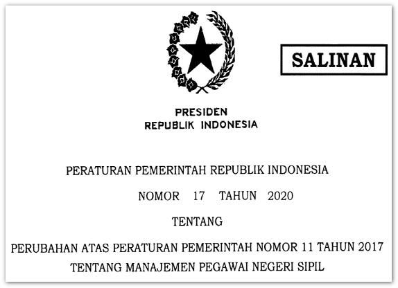 Manajemen PNS Sesuai PP RI Nomor 17 Tahun 2020