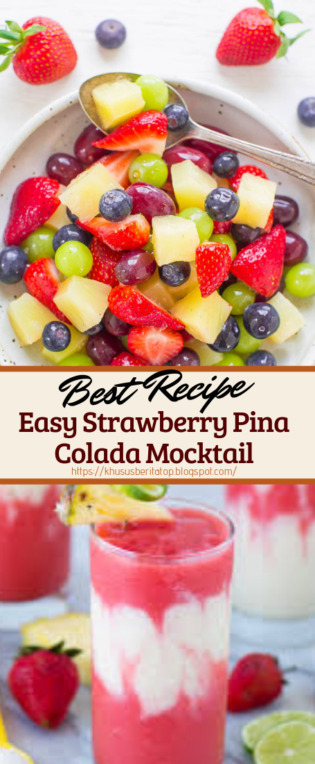 Easy Strawberry Pina Colada Mocktail #healthydrink #easyrecipe #cocktail #smoothie