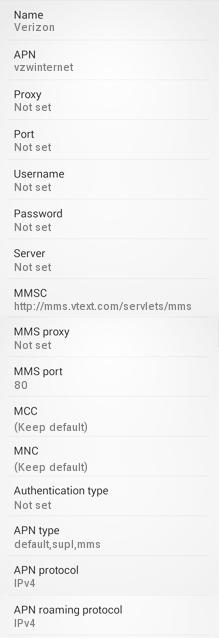 Verizon Wireless 4G APN and MMS settings for Android