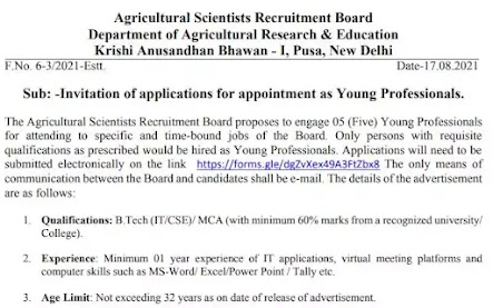 Agricultural Scientists Recruitment Board | Young Professionals
