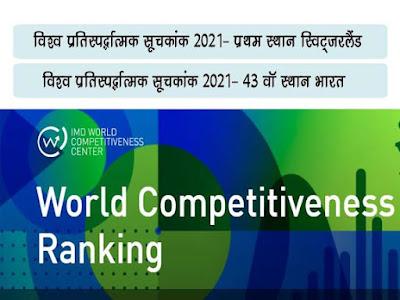 विश्व प्रतिस्पर्द्धात्मकता सूचकांक 2021 |World Competitiveness Yearbook (WCY)