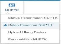 Terdiri dari Status , Calon Penerima, Penonaktifan NUPTK dan Upload Ulang Berkas