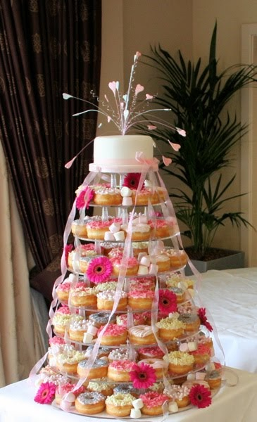 Rainbow Sugarcraft Donut Wedding Cakes