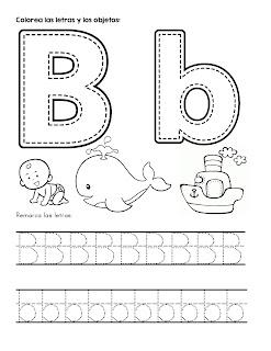 Trazos de abecedario letra b