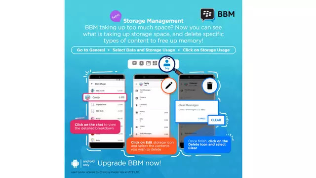 BBM new version now has storage management
