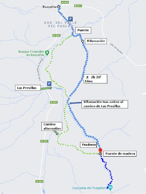 Mapa comentado de Ruta de Las Cascadas del Purgatorio