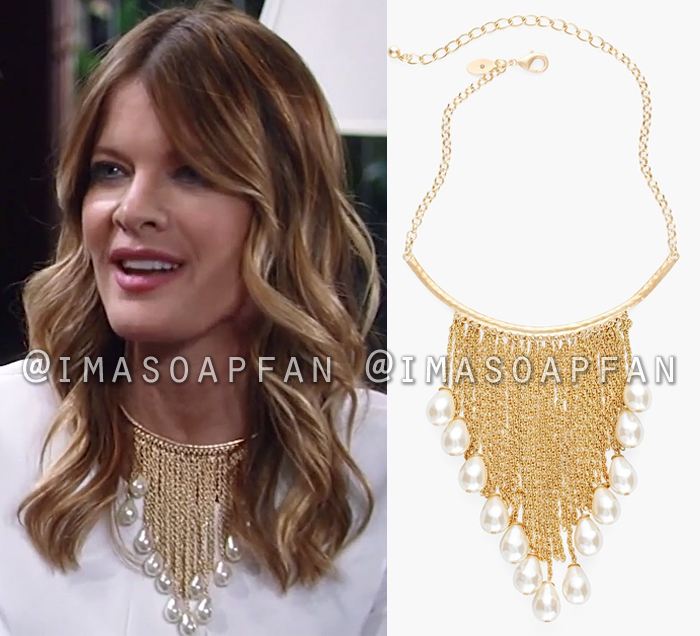 Nina Reeves, Michelle Stafford, Pearl Bead Fringe Necklace, General Hospital, GH