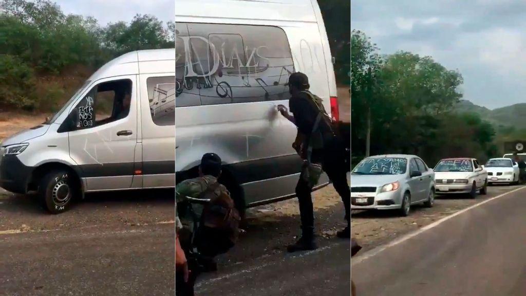 """Video; Sicarios de la Familia instalan retén en Tiquicheo Michoacán y hacen pintas a vehículos con la leyenda """"Ya estamos aquí, FM"""""""