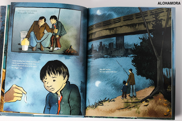 A Different Pond by Bao Phi and illustrated by Thi Bui won a Caldecott Honor in 2018.  The book is a beautiful story about family, immigration, father son relationship, and a sweet story.  The almost graphic novel appearance of this picture book is fun to read.  The illustrations are gorgeous with an artsy take.  A great book, and a great addition to any library collection. Great for 2nd grade through 6th grade. picture book, kidlit, award books, read aloud, immigrants. Alohamoraopenabook Alohamora Open a Book http://alohamoraopenabook.blogspot.com/