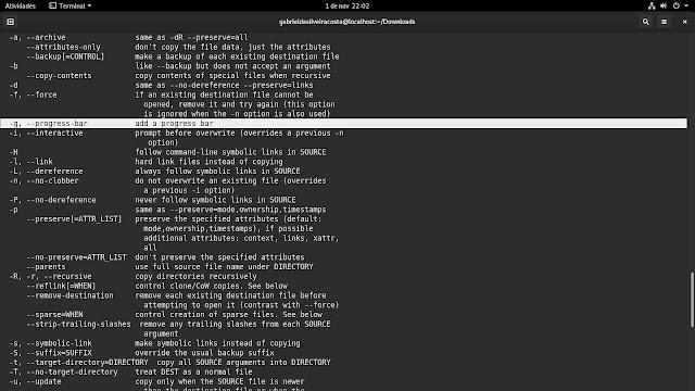 Opção -g no comando cp que permite acompanhar o progresso da cópia