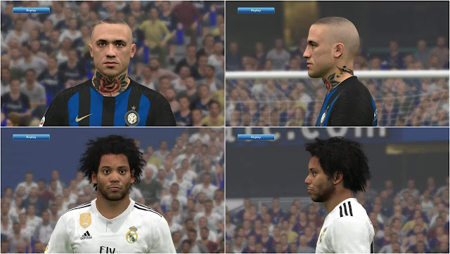 Nainggolan and Marcelo Face For PES17 by benHUSSAM