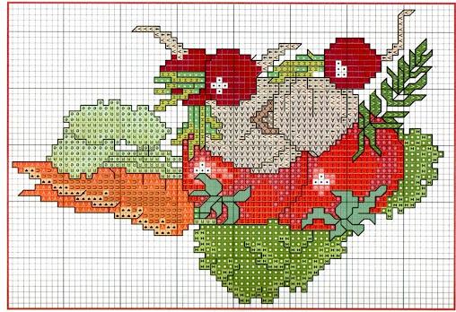 ortaggi colorati su asciugapiatti e tovagliette allamericana da ricamare a punto croce