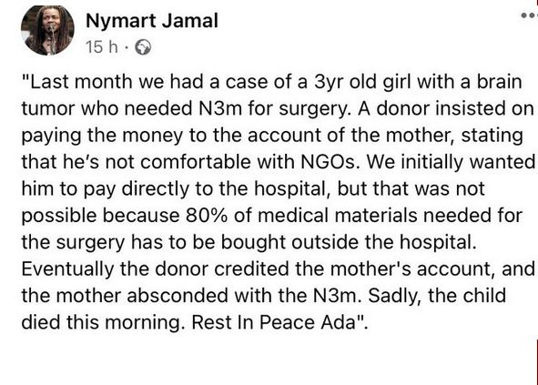 3-year-old Girl Dies After Her Mother Absconded With The N3M Contributed For Her Surgery
