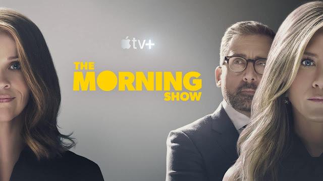 Reese Witherspoon, Steve Carrell y Jennifer Aniston en el póster promocional de The Morning Show, original de Apple TV +