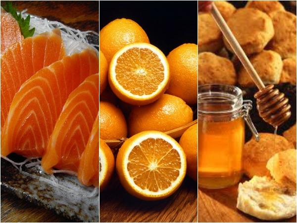 salmon, naranja, miel