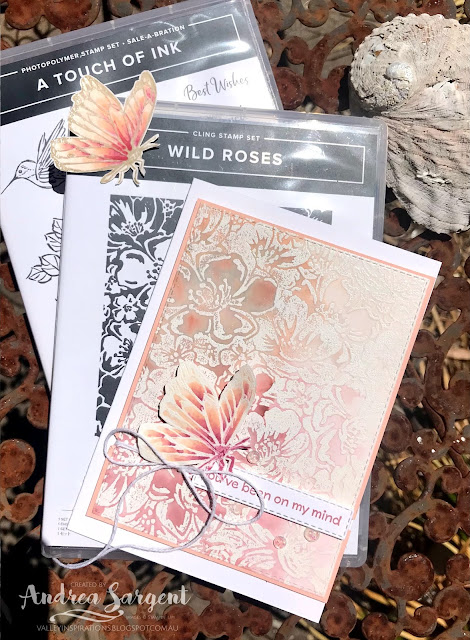 A card showcasing Petal Pink and using water-colouring featuring Stampin' Up!s Wild Roses and A Touch of Ink stamps.