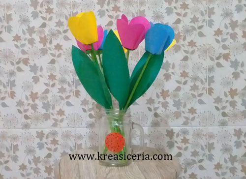 Cara Membuat Bunga Tulip Cantik Dari Kertas Origami Prakarya Sd