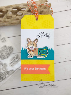 Corgis and Color a Tag by Diane Morales   Corgi Beach Stamp Set by Newton's Nook Designs
