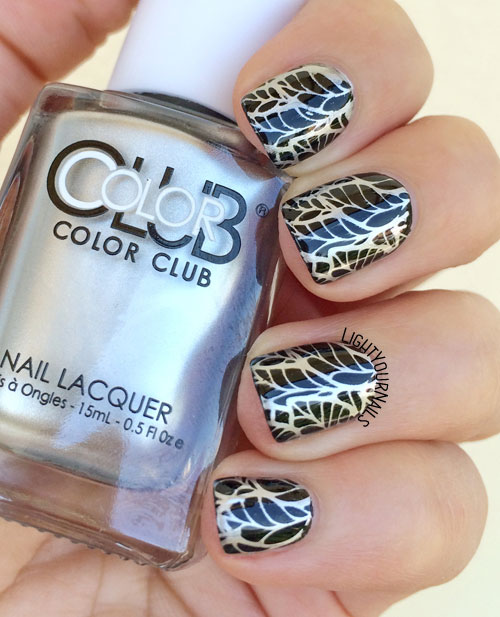 Black and silver metallic nail art with Color Club On The Rocks, Color Club Where's the Soiree, BP-L026 stamping plate