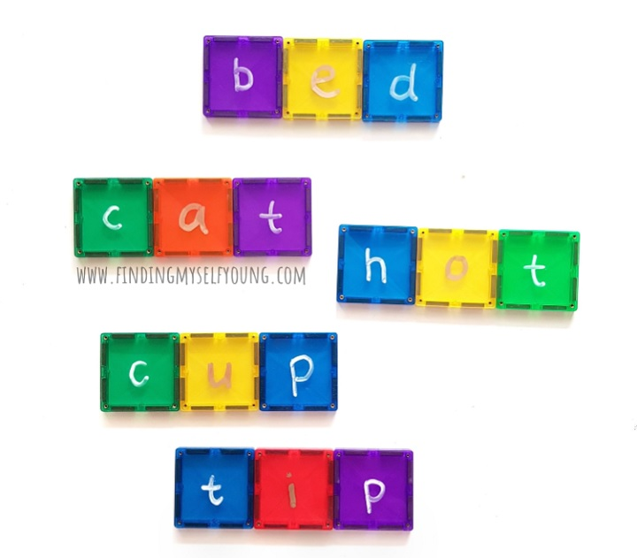 connetix magnetic tiles with letters making cvc words