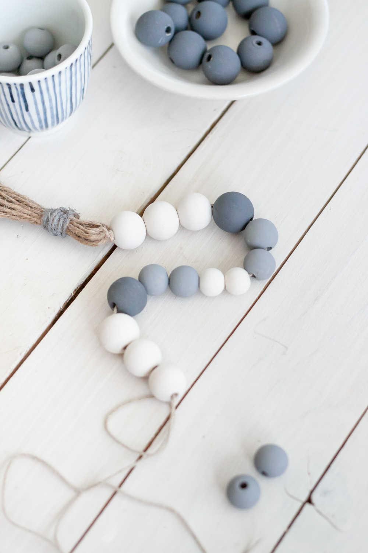 string beads on diy tassel