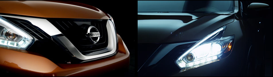 Lampu HEADLIGHTS berbentuk bumerang pada Murano mengintegrasikan dengan profil aerodinamis untuk menjadi bagian penting dari semua desain yang dramatis