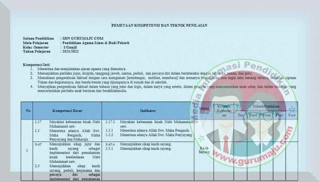 Pemetaan KD PAI Kelas 1 Kurikulum 2013 Revisi 2021 Semester 1