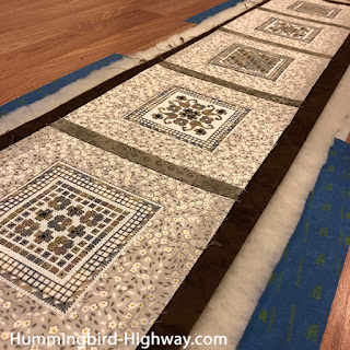 Hardanger runner, sandwiched, ready to quilt