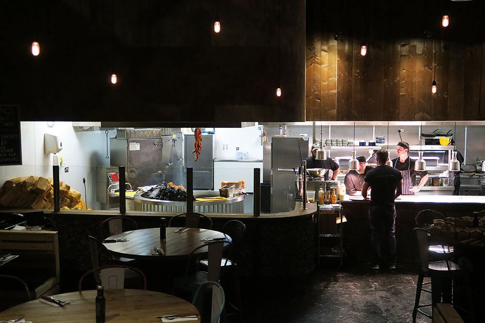 Open kitchen at Smoke Barbecue Leeds
