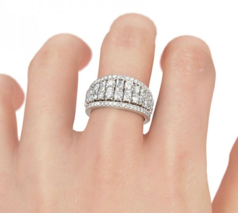 Jeulia Vintage Baguette and Round Cut Created White Sapphire Women's Wedding Band -The Price: $135.95