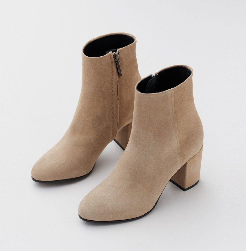 Light beige suede ankle boots