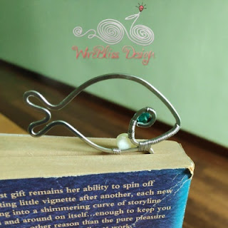 Wire wrapped fish bookmark with Swarovski Crystal and Pearl