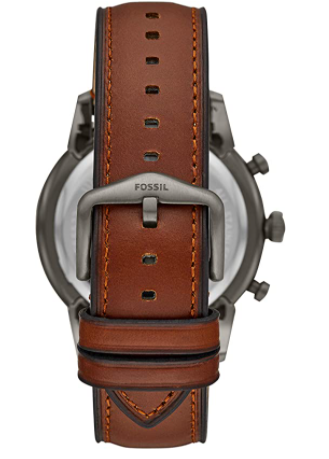 BUY THIS PRODUCT Fossil Men's Townsman Stainless Steel and Leather Casual Quartz Chronograph Watch   Currently unavailable. We don't know when or if this item will be back in stock. Imported Fossil is inspired by American creativity and ingenuity. Bringing new life into the watch and leathers industry by making quality, fashionable accessories that are both fun and accessible. Taking our cues from 1960s-era architectural and automotive design, our Townsman has a clean, symmetrical style and elevated construction. Elegantly vaulted hands, beveled indices and a shapely case make this timepiece a classic for decades to come. 44mm case, 22mm band width, mineral crystal, Quartz movement with chronograph analog display, imported. Attachment Material/Color: Leather/Brown; Closure type: Single Prong Strap Buckle; Interchangeable with all Fossil 22MM bands Customize your watch with complimentary engraving at a local Fossil store. Engraving is available at participating U.S. and Canadian full-priced and outlet Fossil stores. This service is not applicable on all accessories.