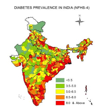 Map showing the prevalence of diabetes among adults