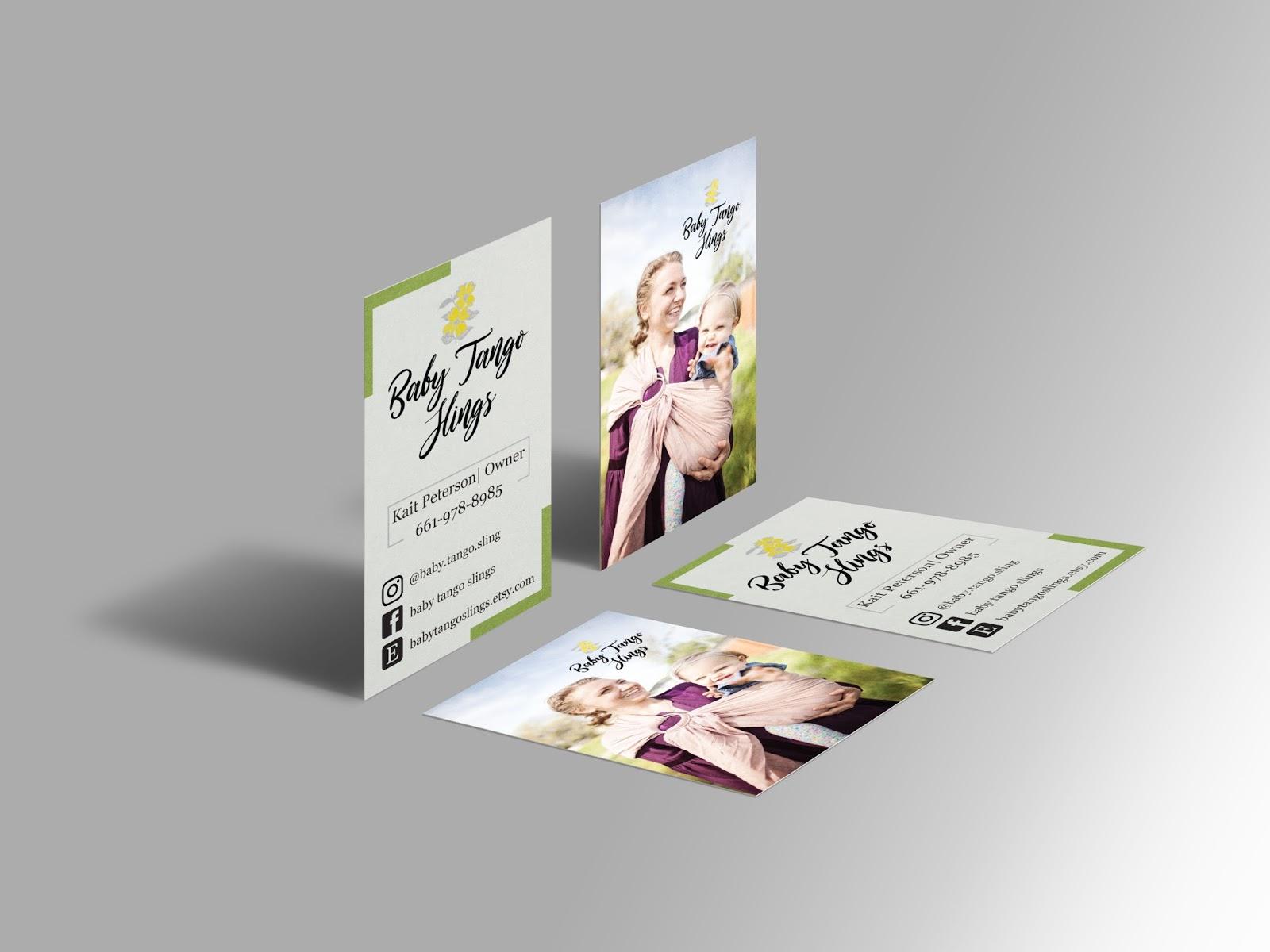 Mockup of Baby Tango Slings Business Card | AAM LIFE DESIGNS
