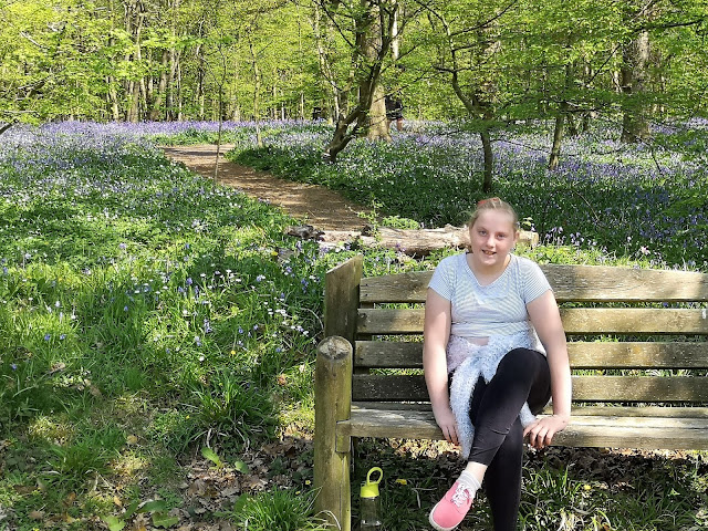 Tween girl in bluebell woods