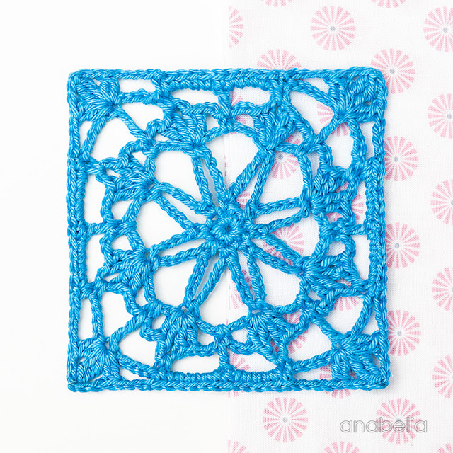 Crochet lace square Motif 3/ 2017 pattern Anabelia Craft Design