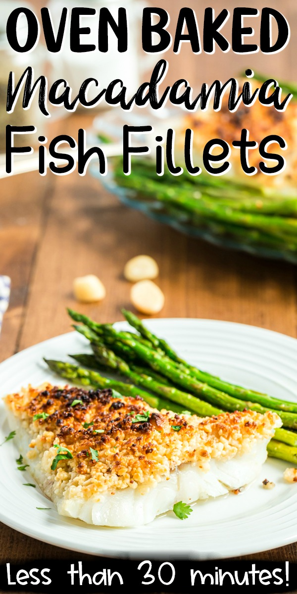 Oven Baked Coconut Macadamia Fish Fillets are a delicious fish recipe that is super simple, but fancy enough to impress company, and perfect for your low carb or keto lifestyle! The bonus is it can be made from start to finish in less than 30 minutes! #lowcarb #Keto #glutenfree #fish #cod #seafood #macadamia #coconut #sheetpan #easy #recipe