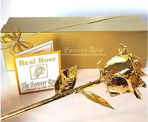 24K Gold Dipped Real Rose w/Gold Gift Box by The Original Forever Rose USA Brand – Price: $74.95