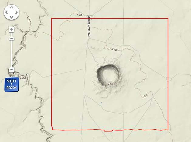 Meteor Crater Arizona Map.Arizona Geology Meteor Crater Lidar Data Available