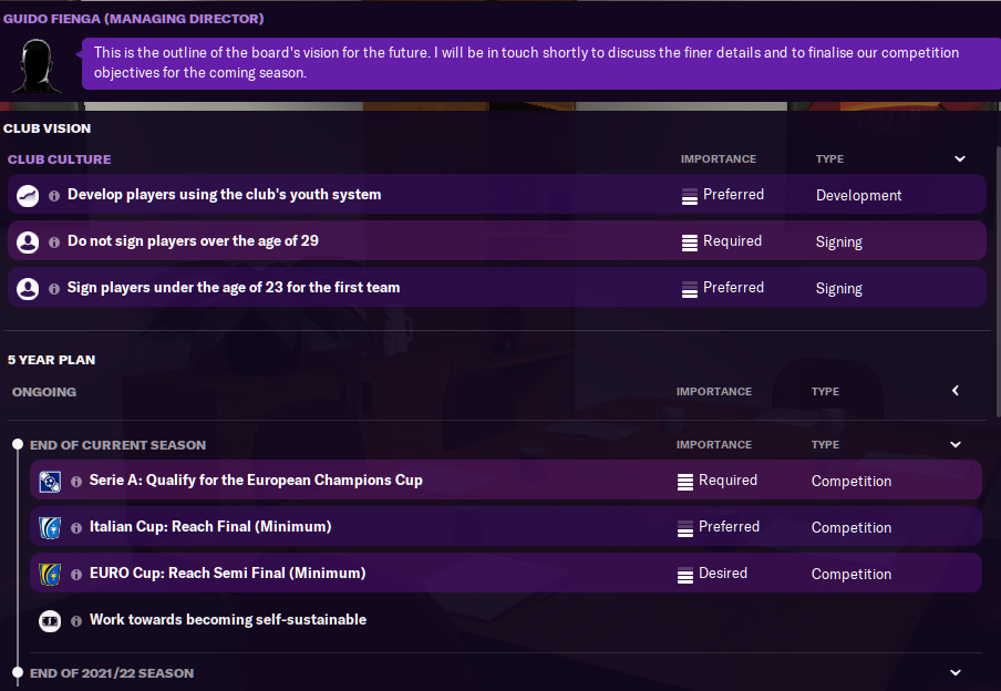 FM21 AS Roma Board Requirements