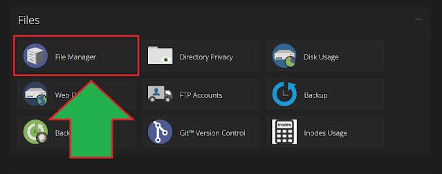 menu file manager cPanel