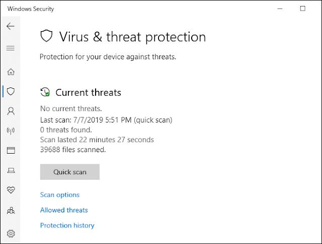 قائمة فحص مكافحة الفيروسات في Windows Defender.