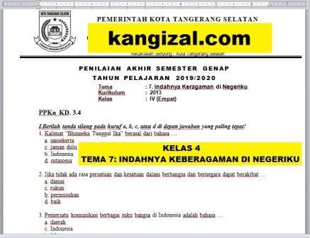 Soal UAS / PAT / UKK Kelas 4 Tema 7 Kurikulum 2013 Revisi 2019/2020 kangizal.com