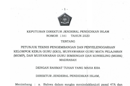 Juknis Penyelenggaraan KKG, MGMP dan MGBK Madrasah 2020