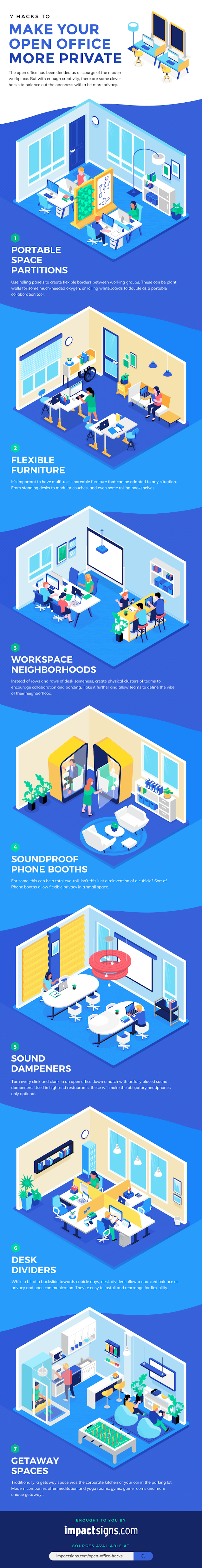 7 Hacks to Make Your Open Office More Private #infographic #Office #infographics #Office Hacks