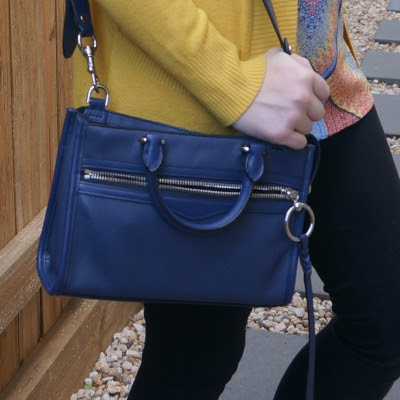 mustard cardigan, Rebecca Minkoff Micro Bedford zip satchel in twilight | away from the blue